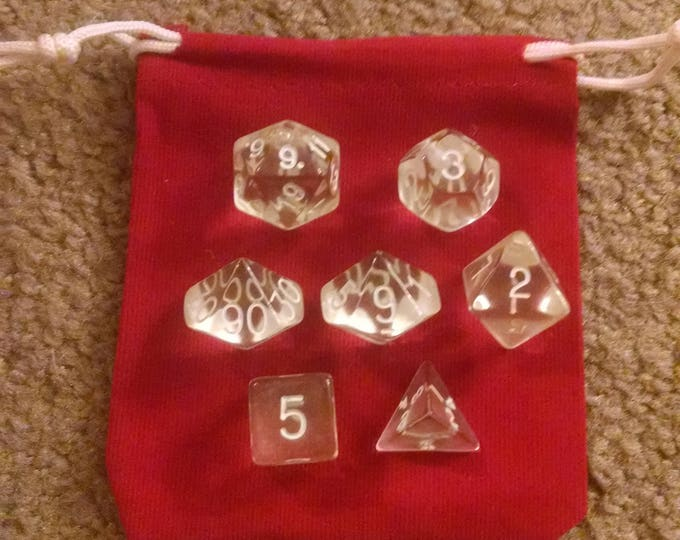 Invisibility - 7 Die Polyhedral Set with Pouch