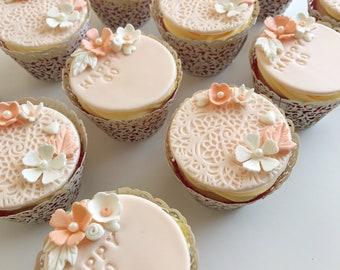 Elegant Lace Birthday Cupcake Toppers FONDANT EDIBLE