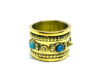 Indian Handmade Ring/ Gold Color Ring / Spinner Ring / Turquoise Stone Ring