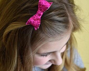 22 Colors - Small Glitter Tuxedo Hair Bow - Headband - Clip - Glitter Bow - Hair Bow