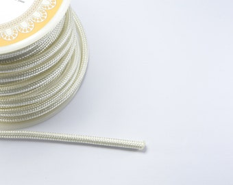 8ft (2.43m) (2.66 yards) 3mm Nylon Braided Cord in White, Chinese Knotting Cord, Spooled, Beading String for Beads #SD-S8399