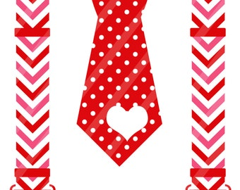 Valentine Tie with Suspenders Digital Download for iron-ons,heat transfers, T-Shirts, Onesies, Bibs, Towels, Aprons, DIY YOU PRINT