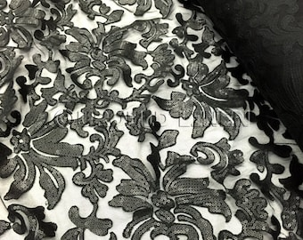 Black Milan is embroidered sequin fabric - Wedding and decorative fabric.