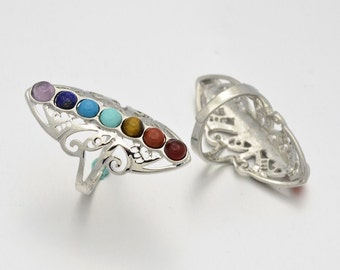 Chakra Natural Stone & Butterfly Adjustable Finger Ring