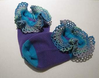 Hand Crocheted Lace edged Anklet's, ankle sock, Purple sock with teal toe, heel and ankle band, sock size 4 to 6
