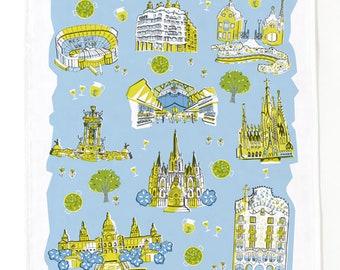 Barcelona Tea Towel-Home Goods-Kitchen-Blue-Chartreuse-Grey-17 x 28