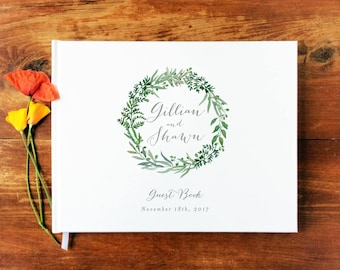 Wedding Guest Book Landscape #13 - Hardcover - Wedding Guestbook, Custom Guest Book, Personalized Guest Book - Botanical