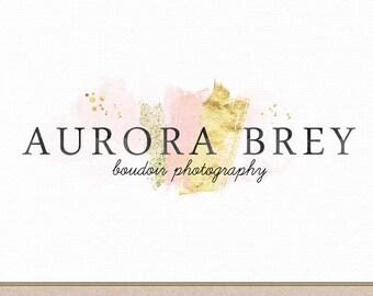 Photography Logo Instant Download DIY Watercolor Gold Foil Glitter Design Photoshop Template for Boudoir, Beauty, Make Up