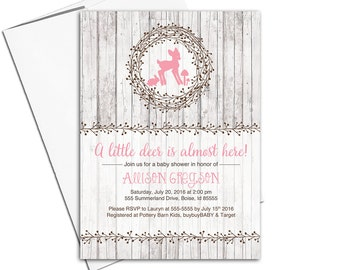 Woodland baby shower invitations girls | deer baby shower invite | rustic wood invitation | printable or printed - WLP00755