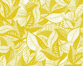 Summer Skies - Gold Packed Leaves by Jenean Morrison from 3 Wishes Fabric