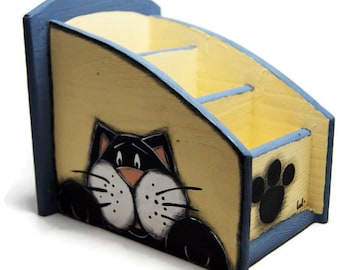 Desk organizer with black cat - Desk accessories with black cats - Pencil box with black cats - Back to school
