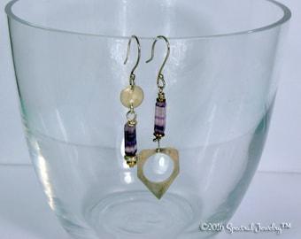 Boho Asymmetrical Sterling Charm Purple Striped Fluorite Dangle Earrings | SPRING CLEAN SALE | Gift For Her