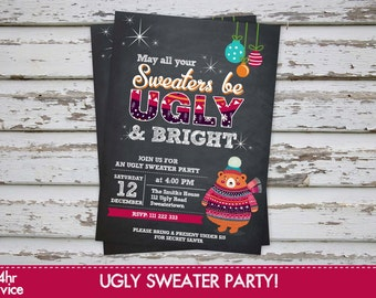 Ugly sweater invitation ugly sweater party ugly sweater party invitation ugly christmas sweater party invitation ugly jumper Printable