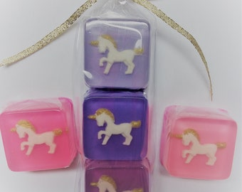 Unicorn Soap Favors Sets, SIX gift packs of 3 soaps, your color choice, giftbagged