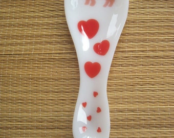 Pig and Red Hearts Fused Glass Spoon Rest
