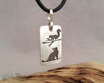 Cat and squirrel silhouette pendant in carved fine silver, sterling silver bail . Squirrel necklace . Cat silhouette necklace