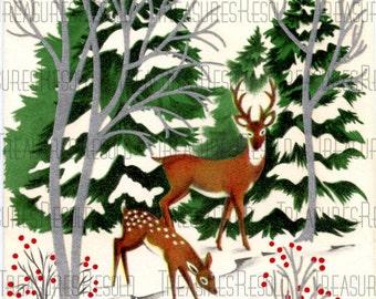 Seasons Greetings Winter Deer Christmas Card #2 Digital Download