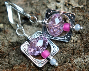 Simply square dangle earrings faceted PINK crystal beads