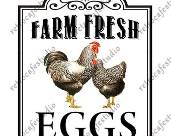 Digital Download Vintage Fresh Eggs with Chickens Transfer Clip Art; 1092
