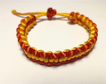 Satin red and orange bracelet