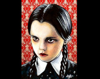 "Print 11x17"" - Wednesday Addams - The Addams Family Christina Ricci Morticia Gomez Dark Art Horror Comedy Gothic Pop Art Lowbrow Art Cute"