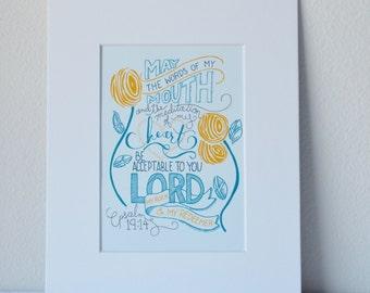 Psalm 19:14 Print Bible Verse Art 5x7 Digital Wall Art Gift