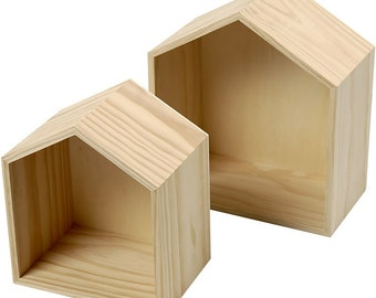 Plain Wooden House Shaped Shelf Box - Small & Medium Boxes - Craft Decorate - Display Wall Storage