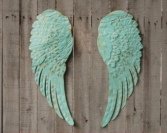 Angel Wings, Wall Decor, Shabby Chic, Aqua, Gold, Hand Painted, Wall Art, Upcycled, Large, Shabby Chic Decor, Boho Decor, Nursery Decor
