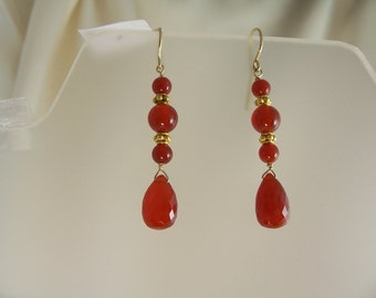Carnelian briolette earrings dangle earrings 14k gold filled gemstone handmade item 882