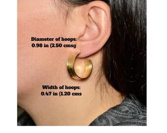 Small thick hoops, hammered wide hoops, brass chunky earrings, artisan stud hoops, hoops under 30, rustic jewelry.