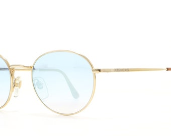 Giorgio Armani 272T 743 Gold Vintage Sunglasses Round For Men and Women
