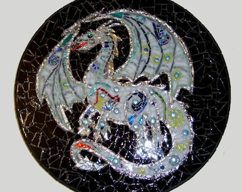 Pale Dragon Stained Glass Mosaic Art One of a Kind Original Design