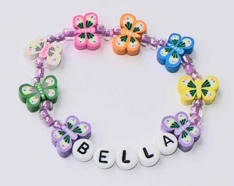 Butterfly Name Bracelet Children's PERSONALIZED Bracelet Pastel Butterfly Butterflies Party Favor Infant Baby Child Kid Adult Size Clay Bead