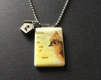 Joyful Bird pendant, altered art jewelry, handmade collage pendant, inspirational jewelry, bird necklace, recycled mahjong jewelry, gift