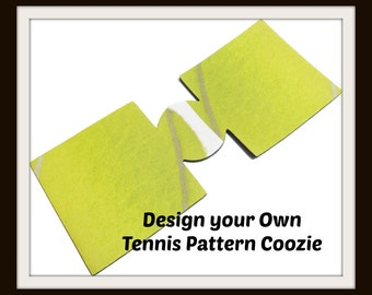 Monogrammed / Personalized TENNIS  Pattern  Can Cozie  Insulator / Cooler in  with embroidered Letter(s) of your Choice