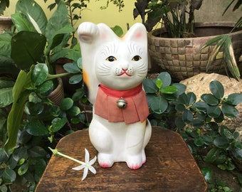 Unique Large Japanese Tokoname Ceramic Figurine 招き猫 Maneki Neko Beckoning Cat Good Luck Charm Coin Bank Okimono