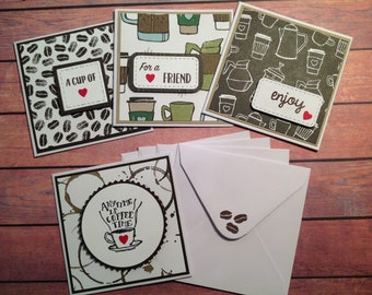 Mini cards, mini note cards, set of 4, coffee cards, gift tags, coffee ephemera, 3 x 3 cards, mini coffee cards