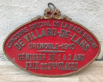 FRENCH VINTAGE AGRICULTURE plaque trophy award animals prize sign 1910 07061824