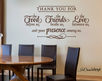 Wonderful Kitchen Wall Decal  Thank You For The Food Friends Love  Quote Cooking  Blessing VInyl
