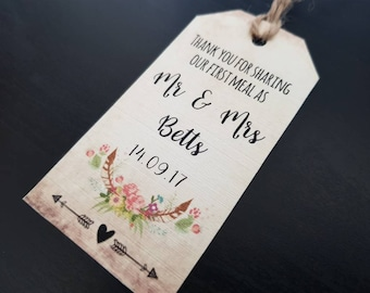 Woodland Wedding Tags - Rustic Wedding Tags - Thank you for sharing our first meal tags - Boho Wedding Decor - Boho Favour Tags