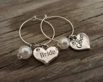 Bride and Groom Wine Glass Charm - Wine Charm - Wedding Wine Glass Ring Charm - Bride and Groom Gift - Wedding Day - I/B