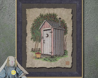 Nostalgic Apple Orchard Outhouse Art Whimsical yesteryear print adds Americana art to country bathroom as 8x10 or 13x19 wall decor