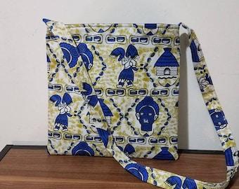 African print hobo bag, messenger bag, Blue messenger bag, wax print