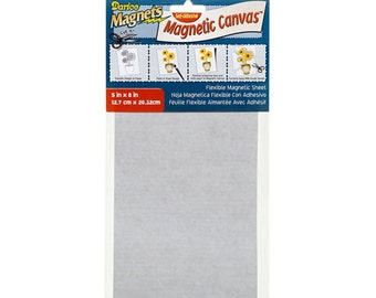 Flexible Magnetic Canvas - Adhesive Back Sheet - White - 5 x 8 inches (1 Sheet) (dar119503)