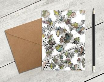 Leaves - Greeting Card, Autumn, Zentangle Art