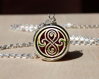 Handmade Doctor Who Necklace, Seal of Rassilon Pendant Glass dome Pendant, gift for Her Him, nekel free jewelry