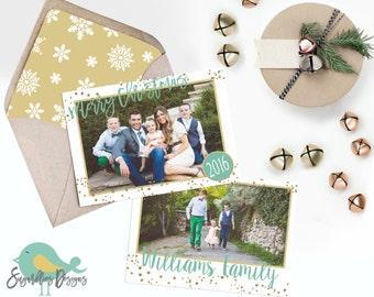 Holiday Card PHOTOSHOP TEMPLATE - Family Christmas Card 144