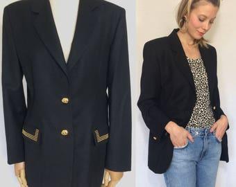 1990's blazer, Black jacket, Vintage jacket, Vintage blazer, Black blazer.