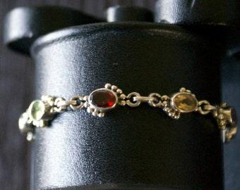 Charming Topaz Garnet Amethyst Peridot Silver Bracelet