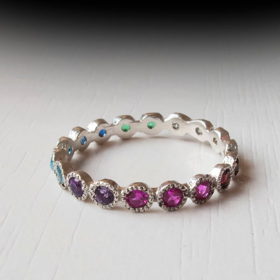 White Gold Eternity Ring Sapphire Ruby Citrine Emerald